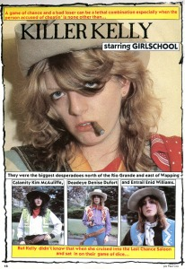 Girlschool photo spread, pics by Paul Cox, Flexipop, 1981