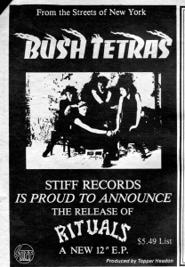 "Bush Tetras ""Ritual"" advert, Take It!, 1982"