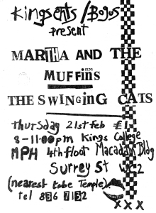 Martha and the Muffins  at Kings College, London, UK