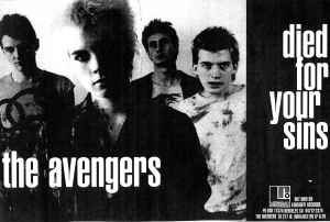 "The Avengers ""Died for Your Sins"" promo poster, Lookout Records"