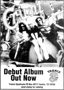 Advert for Crunt (with Kat Bjelland), Trance Syndicte, Flipside no. 89, 1994