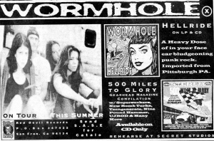"Wormhole ""Hellride"" advert, Red Devil Records, Flipside, No. 102, 1992"