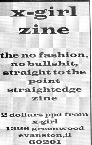 X-Girl zine advert, Maximum Rocknroll, No. 81, April 1990