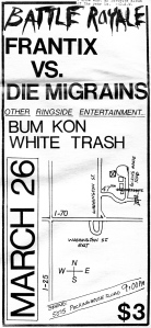 Die Migrains at Packinghouse, Denver, advert, Local Anesthetic, 2.2, 1983