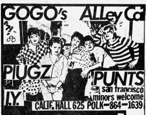Go Go's and Alley Cats at California Hall, LA, from Maximum RocknRoll No. 2
