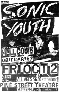 Snoic Youth (with Kim Gordon) at Pine Street Theatre in Portland, 1987