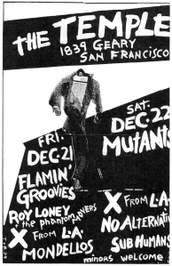 Mutants and X at The Temple, San Francisco, by T and R, 1979