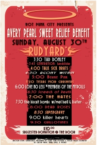 Avery Pearl (the diabetic child of Mel Hell) Sweet Relief Benefit with Talk Sick Brats, No Love Less, members of Mydolls, and more, 30 Aug. 2015, Rudyards! Houston, TX, 3:30 – 10 pm!