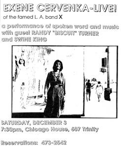 Exene Cervenka at Chicago House, Austin, TX, 1990s