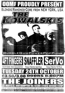 The Kowalskis (with Kitty Kowalski), Snaffler, and SerVo at the Joiners in Southampton